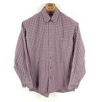 Lacoste Hemd Herren Gr. 40 L Rot Grau Weiß Kariert Button-Down Langarm Shirt