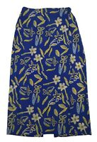 VINTAGE 90s Womens Skirt Size 12 Midi Floral Yellow Blue Stretch Waist Faux Wrap