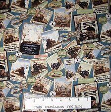Locomotion Fabric - Train Sign & Picture Collage Blue Benartex Bristol Bay YARD