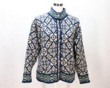 VTG LLBean wool sweater dark blue beige knit nowegian button cardigan womens M