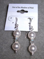 Crystal & Pearl Bride Bridesmaid Prom Earrings .925 SS made w/Swarovski Elements
