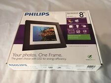 """Philips Home Essentials Digital Photo Frame Black Wood 8"""" LCD Panel Picture NEW"""