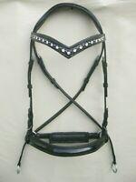 Bitless Zaumzeug Leder,1,Reihe weiße & schwarze Kette am Stirnband a mit Zügeln