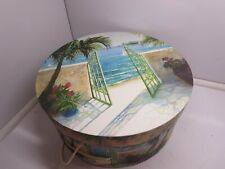 "Hat Box Art DecoTropical Tri-Coastal Design by Art In Motion 15"" X 7"" Tiki Sail"
