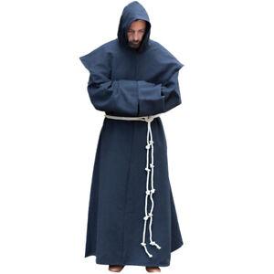 Halloween Men Renaissance Medieval Priest Monk Robe Cosplay Costume Shawl 3PCS