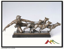 """Signed KELETY. Bronze statue Man w/ Dogs """"The Release"""""""