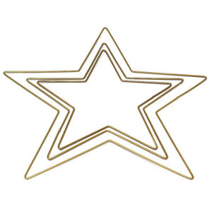 PACK OF 3 METAL HANGING STARS FESTIVE CHRISTMAS DECORATIONS WREATH CRAFT STAR