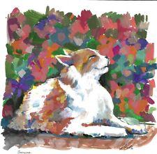 original drawing 29.5 x 29.5 cm 46BJ art samovar Mixed Media modern cat 2020