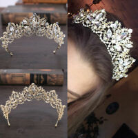 Bride Baroque Luxury Crystal AB Bridal Crown Tiaras Tiara Light Gold Diadem V2V9
