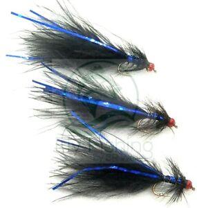 3 HOT Head Black BLUE Flash DAMSEL Flies RED Neon Trout Fly Fishing Size10,12,14