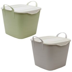 JVL Funktional Large Plastic Storage Container with Lid, Green or Grey
