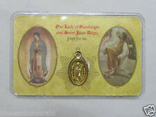 """† LAMINATED """"LADY GUADALUPE  ST JUAN DIEGO"""" MEDAL DOUBLE SIDED PURSE HOLY CARD †"""