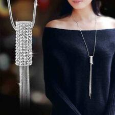 Fashion Cubic Zircon Cylinder Pendant Long Chain Tassel Sweater Necklace Women