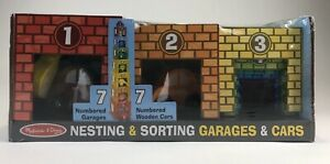 ~NIB~MELISSA&DOUG- Nesting and Sorting Garages and Cars W/7 Graduated Garages
