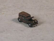 Z Scale Rusted out 1936 Black Ford Sedan Car with hood up.