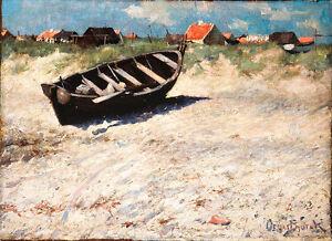 Boat at Skagens South Beach A1+ by Oscar Bjorck High Quality Canvas Print