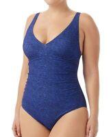 TYR Womens Swimwear Blue Size 14 Mantra Durafast One-Piece V-Neck $80- 176
