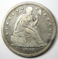 1846 Seated Liberty Silver Dollar $1 - VF Details- Rare Early Coin!