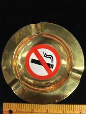 Vintage Solid Brass No Smoking Ash Tray round circle 5 inch diameter