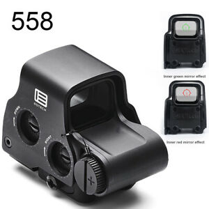 558 Holographic Red Dot Sight Green Dot EXPS3-2 Tactical Scope QR Airsoft -Black