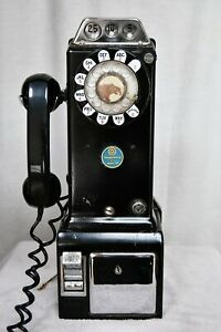 Antique 1950's Bell WESTERN ELECTRIC 233G Three Coin Wall Pay Phone