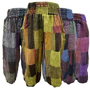 Hippie Stonewash Patchwork pants Harem Womens Churidar Bohemian Elastic Trousers
