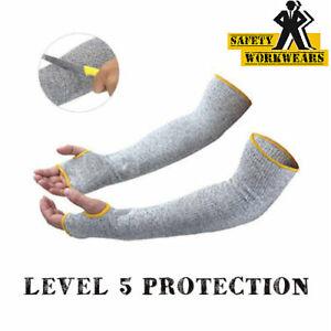 "Protective 18"" Grey Arm Sleeves Cut Heat Resistant Anti Slash Arm & Wrist Gaurds"