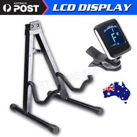Folding Acoustic Bass Guitar Stand A Frame Floor Rack Holder and Guitar Tuner AU