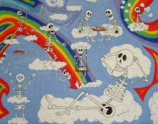 "ORIGINAL ART Signed Ink Drawing -- Skeletons in Clouds and Rainbow 16""x20"""