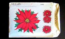 Vintage 1990 McCall's 6 PC Poinsettias Iron On Fabric Appliques New!