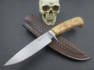 Mozolic Knives Custom Hand Forged W2 Hunter EDC Maple Burl G10 & Brass Spacers