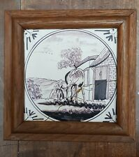 ANTIQUE DUTCH DELFT MANGANESE POTTERY TILE MEN WITH HORSE 18TH C. FRAMED