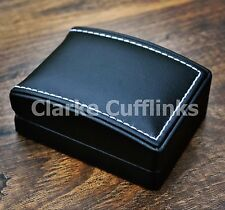 New Black Luxury Leatherette Cufflink Box Mens Present Gift Wedding Christmas