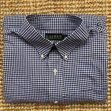 """LAUREN Ralph Lauren Long sleeve shirt button down collar blue check 16.5"""" / 42"""""""