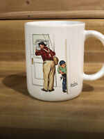 Vintage Closed for Business by Norman Rockwell 1987 Coffee Mug Cup Fishing