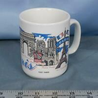 Vintage Paris France Notre Dame Eiffel Tower Coffee Mug dq
