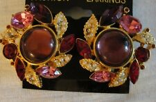 STUNNING VINTAGE PINK, PURPLE & RUBY RED GLASS AND RHINESTONES EARRINGS CLIP ON