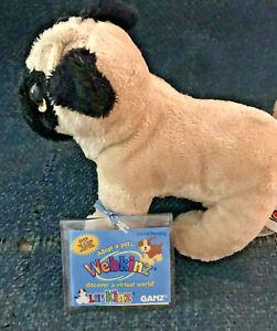 Webkinz plush Ganz Adorable PUG Dog Tan/black  New SEALED CODE