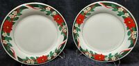 "Tienshan Deck the Halls Dinner Plates 10 5/8"" Christmas Set of 2 Excellent"