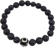 Volcanic Natural Lava and dZi Bead Yoga Healing Wrist Mala Bracelet CL-3