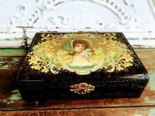 Antique Victorian Portrait woman Vanity box