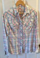 True Religion White/Blue Western Womens Button Plaid Shirt Blouse Button Size M