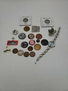 Junk Drawer Lot Coins Stamps Pins Watch A67