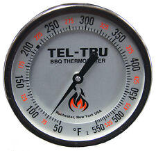 "Tel-Tru BQ500R CALIBRATABLE BBQ Grill & Smoker Thermometer 5"" Dial 2.5"" Stem"