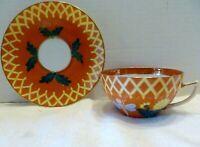 Antique AUSTRIAN Fine China CUP & SAUCER Orange DRAGONFLY CHRYSANTHEMUM Austria