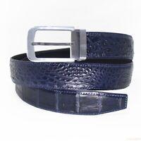 Men's Belt Genuine Crocodile Alligator Skin Leather Belt HANDMADE, Blue, W3.5cm