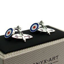 Cufflinks Spitfire and RAF Roundel Traditional chain links by Onyx-Art CK486