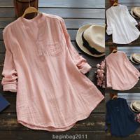 Fashion Women Ladies Casual Long Sleeve Cotton Linen T-Shirt Tops Blouse S-5XL