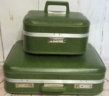 Vintage Hard Shell Suitcase and Train Makeup Case Green with 3 Keys