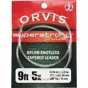 NEW 2 PACK ORVIS SUPER STRONG PLUS 9' 5X 4.4 LB NYLON TAPERED LEADERS